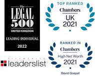 Legal 500, Chambers UK, Chambers HNW and Citywealth leaderslist